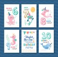 Set of under the sea birthday greeting card Royalty Free Stock Photo