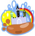 Birthday castle illustration representing a colorful with balloons an idea for logos or for happy greeting card Stock Photography