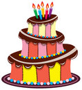 Birthday chocolate cake Stock Images