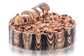 Birthday chocolate cake with nuts and chocolate decoration, piece of cream cake, patisserie, photography for shop, sweet dessert