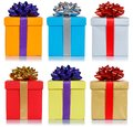 Birthday christmas gifts collection presents isolated on white background Royalty Free Stock Photo