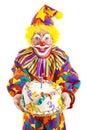Birthday Clown With Cake Royalty Free Stock Photo