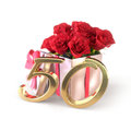 Birthday concept with red roses in gift isolated on white background. fiftieth. 50th. 3D render Royalty Free Stock Photo