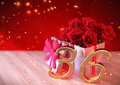 Birthday concept with red roses in gift on wooden desk. thirty-sixth. 36th. 3D render