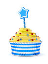 Birthday cupcake d render of isolated on white background Royalty Free Stock Images