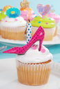 Birthday cupcake pink polka dot high heel shoe Stock Photo