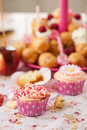Birthday cupcake with sprinkles Royalty Free Stock Photo