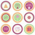 Birthday cupcake toppers set of circle labels for party Royalty Free Stock Images