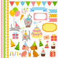Birthday design elements Royalty Free Stock Photo