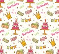 Birthday doodle seamless background with kawaii birthday stuff
