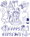 Birthday drawing on the tablet attributes on a white background boy and girl blowing out a candle on the cake Stock Image