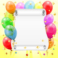 Birthday frame d transparent birthday balloons scroll paper confetti streamer vector Stock Image