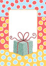 Birthday gift box greeting card with border frame and a polka dot Stock Images