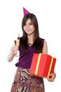 stock image of  Birthday girl ready to party, on white