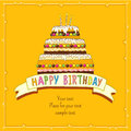 Birthday greeting card big cake with burning candles on yellow background Royalty Free Stock Photo
