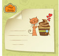 Birthday greeting card with cupcake Stock Photography