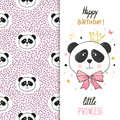 Birthday greeting card design with cute panda  for little girl. Royalty Free Stock Photo