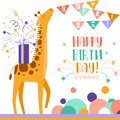 Birthday greeting card with giraffe. Doodle vector illustration