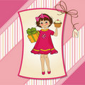 Birthday greeting card with girl Royalty Free Stock Photos
