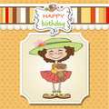 Birthday greeting card with girl Royalty Free Stock Photography