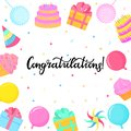 Birthday greeting card. Lettering congratulation. Cake, candy, balloon, cupcake. Frame