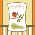 Birthday greeting card with  little bird Royalty Free Stock Photos