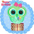 Birthday greeting card with little owl.