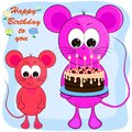 Birthday greeting card with mice. cartoon vector illustration.