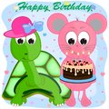 Birthday greeting card with mouse and turtle. cartoon vector illustration.