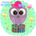 Birthday greeting card with owl.