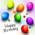 Birthday greeting card with realistic colorful party balloons and balls. Vector.
