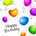 Birthday greeting card with realistic colorful party balloons and streamers. Vector.