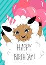 Birthday greeting card with cute sheep