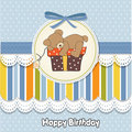Birthday greeting card with teddy Royalty Free Stock Photo
