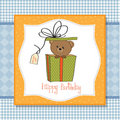 Birthday greeting card with teddy bear Stock Photography