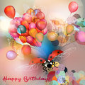 Birthday greeting card or vector illustration with colorful