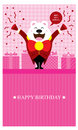 Birthday greetings with polar bear pink greeting design vector format Stock Photography