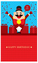 Birthday greetings with ring leader circus greeting design vector format Royalty Free Stock Images