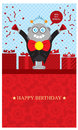 Birthday greetings with robot greeting design vector format Stock Photos
