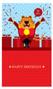 Birthday greetings with tiger this is greeting design vector format Royalty Free Stock Photos