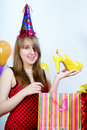 Birthday. Happy attractive girl Royalty Free Stock Images