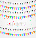 Birthday, holiday, festival decoration outdoor. Christmas and New Year lights design elements. Flags, colored garlands. Royalty Free Stock Photo