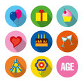 Birthday holiday set colorful vector of party symbols can be used as a greeting card or etc Royalty Free Stock Images