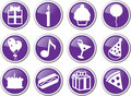 Birthday icon set purple Stock Photo
