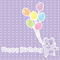 Birthday illustration with cute purple cat bring balloons on polka dot background