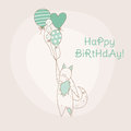 Birthday invitation card with baby fox in Royalty Free Stock Photography