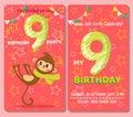 Birthday invitation card with cute animal.