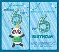 Birthday invitation card with cute animal