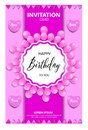 BIRTHDAY INVITATION CARD WITH PINK COLORS