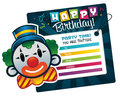 Birthday invitation card smiling clown Stock Photography